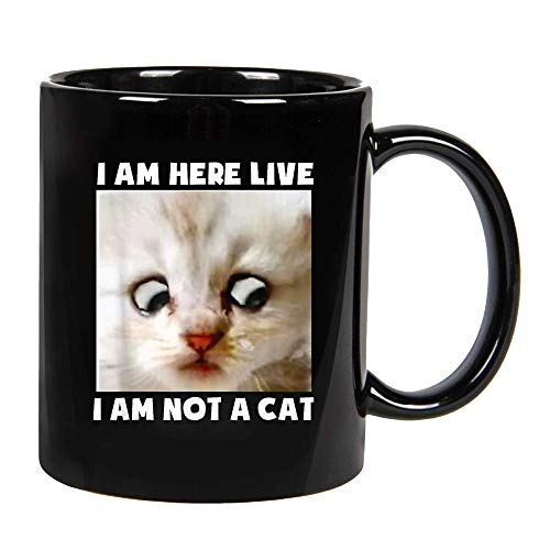 I Am Here Live I Am Not A Cat Funny Lawyer Cat Meme Ceramic Coffee Mug, Cup 11oz, 15oz (11oz)
