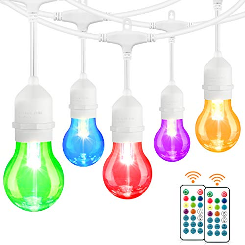 48FT LED RGB String Lights, Outdoor Patio String Lights Multi-Color with 15+3 Dimmable Edison Bulbs, Commercial Decorative Colored Light String for Café Backyard Garden, 2 Remote, White Cord