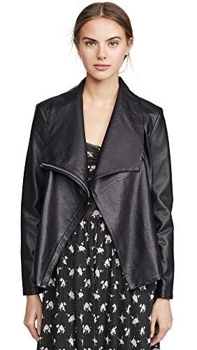 BB Dakota Junior's up to Speed Vegan Leather Jacket with Rib Knit Undersleeve, Black, Medium