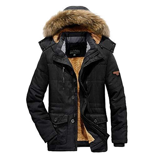 CFWL Cotone Invernale più Velluto di Cotone Spesso Abbigliamento Uomo di Media Lunghezza Giacca Giubbotto Uomo Geographical Jacket Men Pelle College Baseball Nero M