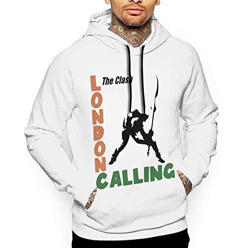 Yougou Clash The Smashing Guitar Men's Casual Pullover Fashion Printing Hooded Sweatshirt with Pocket