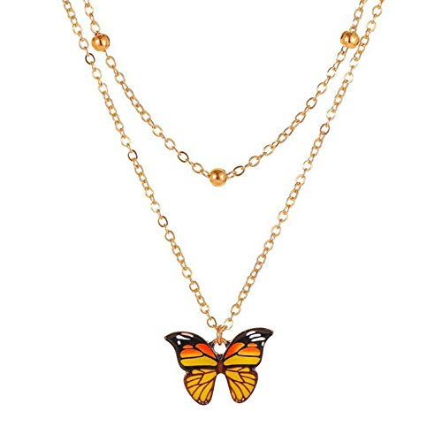 #N/V Retro Double Pearl Butterfly Necklace Butterfly Fashion Women's Clavicle
