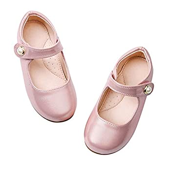 STELLE Girls Mary Jane Flats Slip-on Party Dress Shoes for Kids  T12-Pink 9M