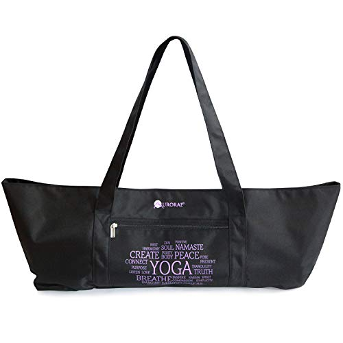 Aurorae Yoga Mat Bolsa de Tela, Extra Ancho para Caber la mayoría colchonetas de Yoga y Accesorios, Reforzada para Poliéster Negro