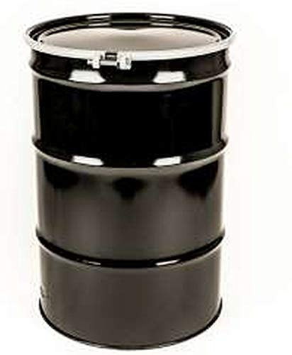 55 Gal Steel Drum Open-Head| Black | Metal Barrel | Rust Inhibitor Lining | Bolt Ring Closure