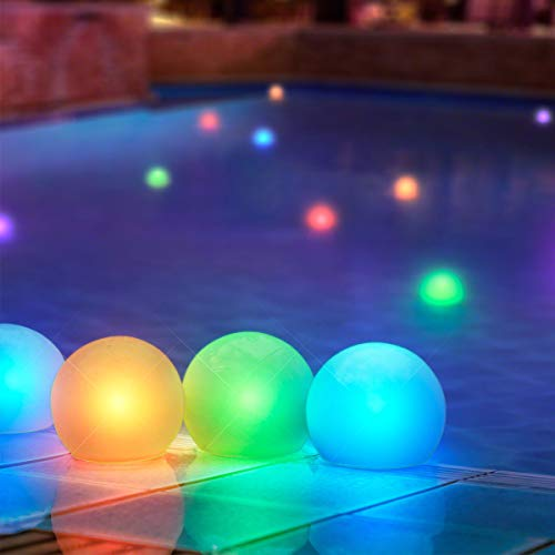 Set of 12 Mood Light Glow Balls for Pools, Ponds & More-...