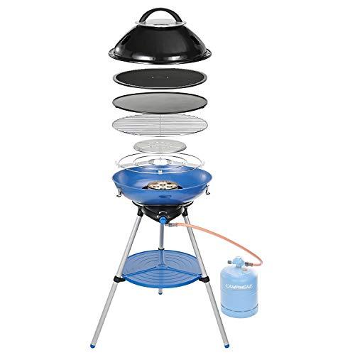 Campingaz Party Grill 600 R Gasgrill Camping, Gaskocher und Campinggrill in einem, Campingkocher mit vielseitigen Kochmöglichkeiten, platzsparend zu transportieren, kleiner Gasgrill zum Mitnehmen