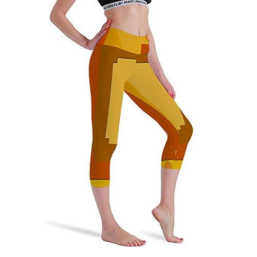 DKISEE Vrouwen Hoge Taille Zeven Punten Yoga Broek Oranje Geel Gedrukt Sportbroek Leggings Hardlopen Gym Sweatpants voor Vrouwen