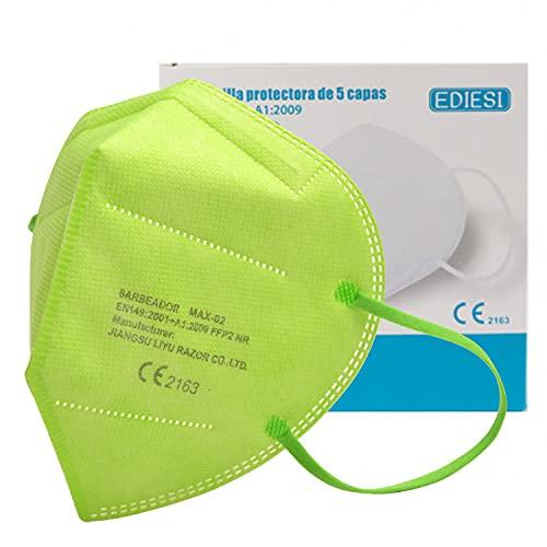 EDIESI Mascarilla FFP2 Homologada 5 capas Protección Respiratoria pack 10 unidades Verde...