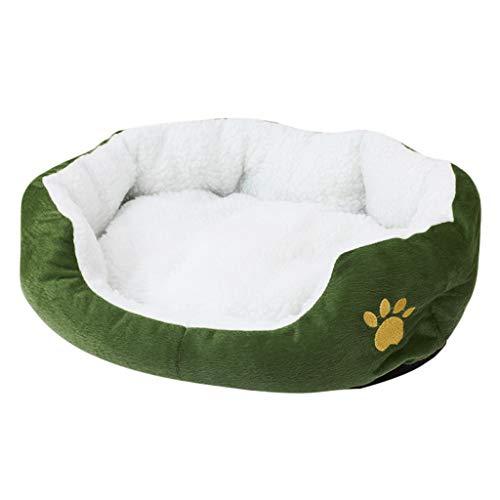 Yowablo Mat Pad Haustier Hund Welpe Katze Vlies Warmes Bett Haus Plüsch Gemütlich (50X40cm,1Armeegrün)