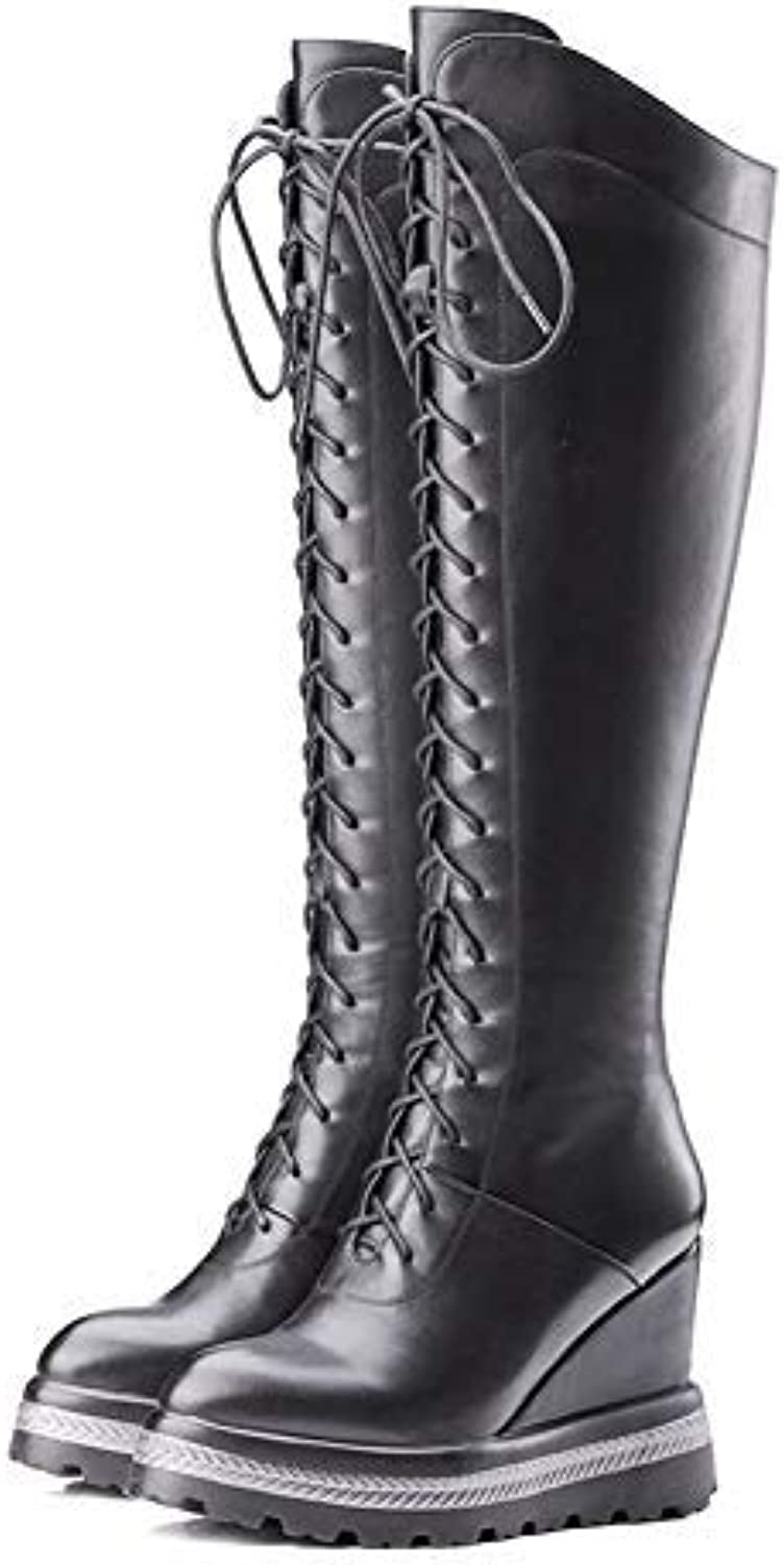 Gedigits Women Motorcycle Boots Fashion Thick High Heels Lace Up Ladies Winter Cow Soft Leather Knee-high Boots Snow shoes Black 4 M US