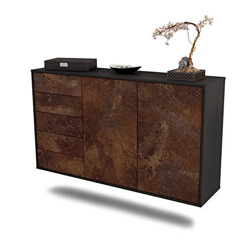 Dekati Sideboard Peoria hängend (136x77x35cm) Korpus anthrazit matt | Front rostigen Industrie-Design | Push-to-Open | Leichtlaufschienen
