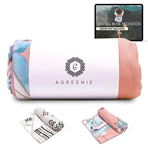 aGreenie Yoga Handtuch Antirutsch - Yogatuch aus Recycelter, Schnelltrocknender Mikrofaser – 183 x 61cm - rutschfest Dank Innovativer Noppen-Struktur - Inkl. E-Book (Blossom)