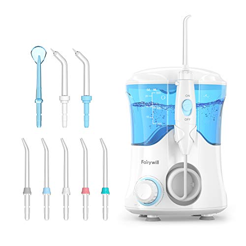 Water Flosser for Teeth, Fairywill Dental Oral Irrigator with 8 Jet Tips,10 Adjustable Modes,600ML Water Tank,Non-Slip Base,Quiet Professional Electric Flosser for Braces Care,Teeth Cleaner,White