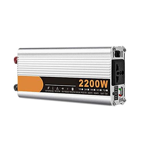 FDQNDXF Inversor de Onda Sinusoidal Modificada 2200W 2600W 3200W Potencia Máxima DC 12V / 24V / 48V a AC 220V Convertidor de Voltaje con Pantalla LED Inversor de Automóvil para Viajes/Camping
