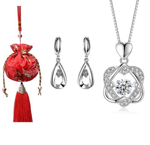 Collar de plata de ley 925 en forma de corazón con cruz en forma de corazón, pendientes chapados en plata en forma de gota, bolsa de joyería de seda tejida a mano