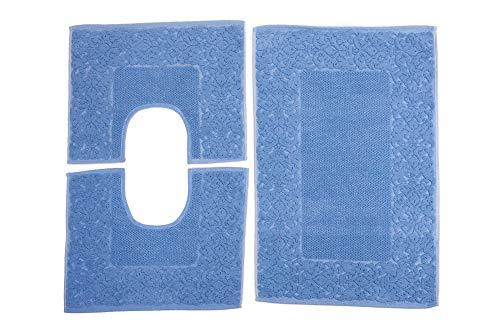 HomeIt - Set Tappeti Bagno 3 Pezzi in Cotone - Elegante Parure tappetini in Spugna: 1 Tappeto 60X90 2 Girowater/Girobidet - Lavabile Lavatrice - Made in Italy (Azzurro)