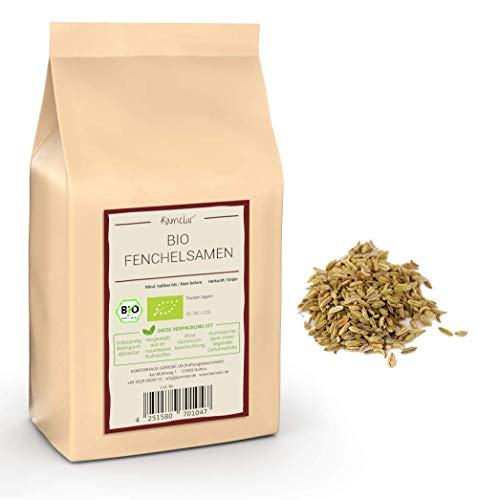 500g de graines de fenouil entières BIO, sans additifs - le fenouil aromatique comme base pour un thé au fenouil BIO bienfaisant - emballé dans un emballage écologique