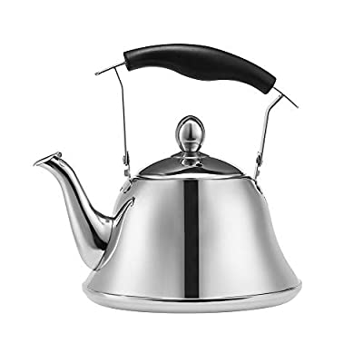 Heavy duty Tea Kettle Stovetop Whistling Teakettle Teapot, Stainless Steel, Mirror Finish, 4 Liters (4.2QT)