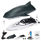 CestMall 2 en 1 Mini RC Pez Juguete Barco de Agua Mejorado Simulado Tiburón Pez Juguete para niños Tiburón Natación Control Remoto Juguete Tiburón Juego de Agua Barco Juguetes