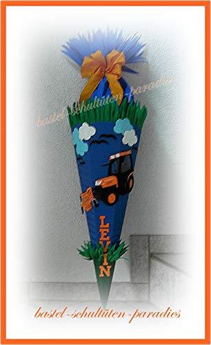 Schultüten Bastelset Rasenmäher-Trecker blau-grün-orange