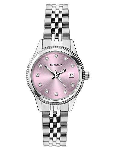 Sekonda 2762 - Orologio da polso da donna, in acciaio inox, con quadrante rosa