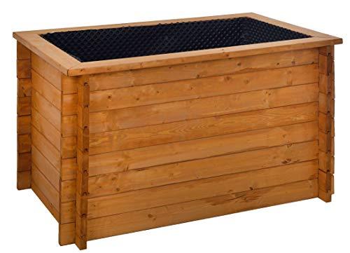 GASPO Hochbeet für Balkon und Garten | Kräuterbeet aus massivem Holz, Honig | 130 x 80 x 76 cm | inkl Noppenfolie und Wühlmausgitter