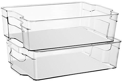 Sooyee - Juego de 2 cubos de almacenamiento apilables de plástico con asas para cocina, nevera, congelador, despensa, nevera y...