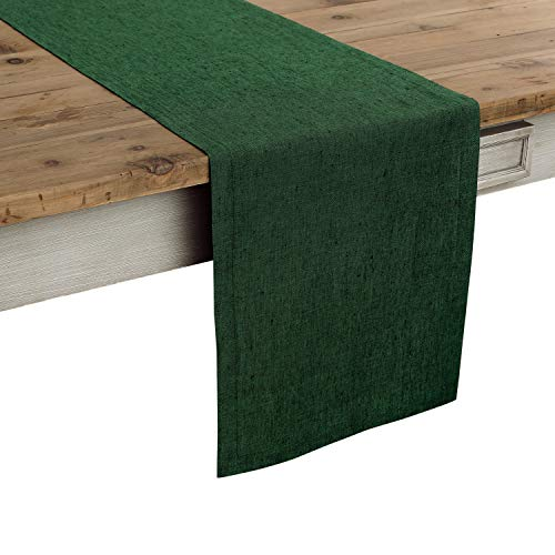 Solino Home 100% Pure Linen Table Runner – 14 x 36 Inch Athena, Handcrafted from European Flax, Natural Fabric Runner – Forest Green