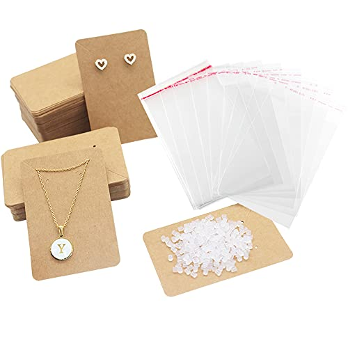 150 PCS Earrings Cards for Display Stud Dangle Earrings Holder Cards with 300 Rubber Earring Backs and 150 Self- Sealing Bags for Earrings Necklace Display Cards Kraft Paper, Brown