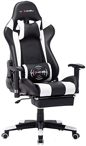 Gaming Chair Office Desk Chair High Back Computer Chair Ergonomic Adjustable Racing Chair Executive PC Chair with Headrest,Massager Lumbar Support & Retractible Footrest (White) chair footrest gaming