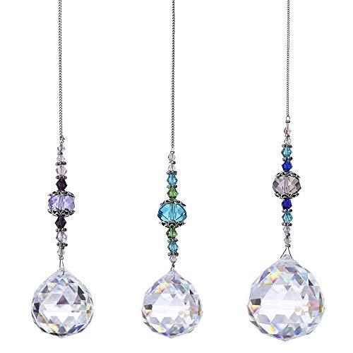 AILANDA 3pcs Kristall Prisma Sonnenfänger Kristalle Hängedeko Sonnenfänger Kristalle zum Aufhängen für Fenster Deko Garten Dekoration Lila Blau Dunkelblau