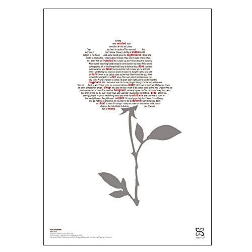 Songshape Bon Jovi 'Bed of Roses' Poster 30 x 42 cm - Musik Poster mit 'Bed of Roses' Songtext Enthalten DIN A3 | Bon Jovi Fanartikel