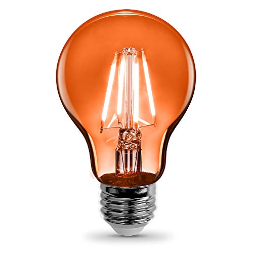 Feit Electric - Orange Filament LED 25W Equivalent Dimmable Clear Glass Light Bulb, A19 (A19/TO/LED)