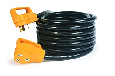 Camco 25' PowerGrip Heavy-Duty Extension Cord with 30M/30F- 90 Degree Locking Adapter