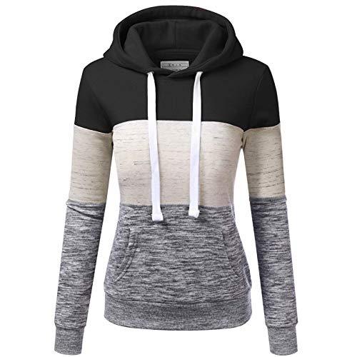 Kenmeko - Sudadera con capucha para mujer, otoño, invierno, informal, con bolsillos de colores degradados 4nero XXL