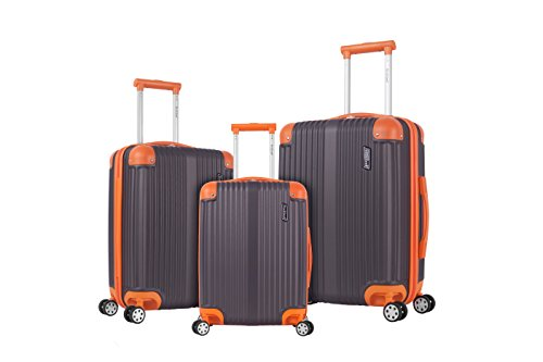 Rockland Berlin Hardside Expandable Spinner Wheel Luggage Set, Charcoal, 3-Piece (20/24/28)