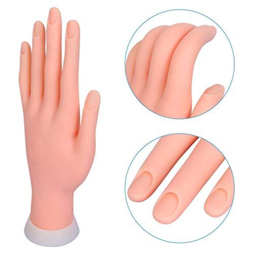 Mano per Pratica - Modello Flessibile Movable Morbida Plastica per Nail Art Manicure Dito di Formazione 9.3 * 6.0 * 24.5cm