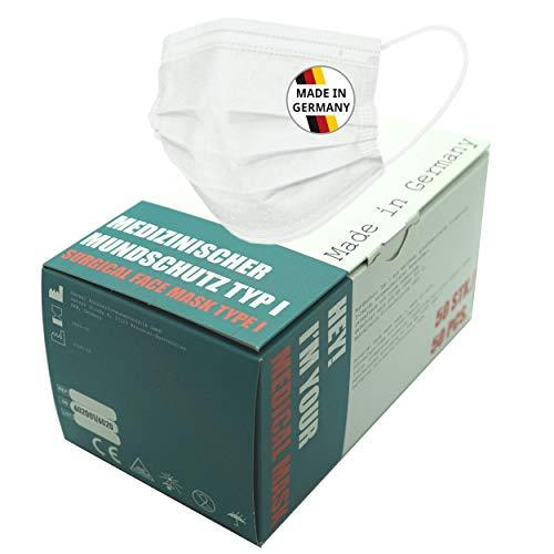 Medizinischer Mundschutz Typ I 50 Stück, OP-Maske Typ 1, Weiß, Made in Germany, CE & EN14683