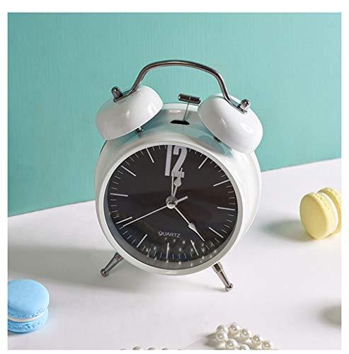 "XNZ Quartz Retro Analog Alarm Clock, Classic Twin Bell Silent Alarm Clocks Non Ticking Bedside Bedroom Travel Clock for Kids and Adults Loud Alarm, 3"" Roman Numerals"