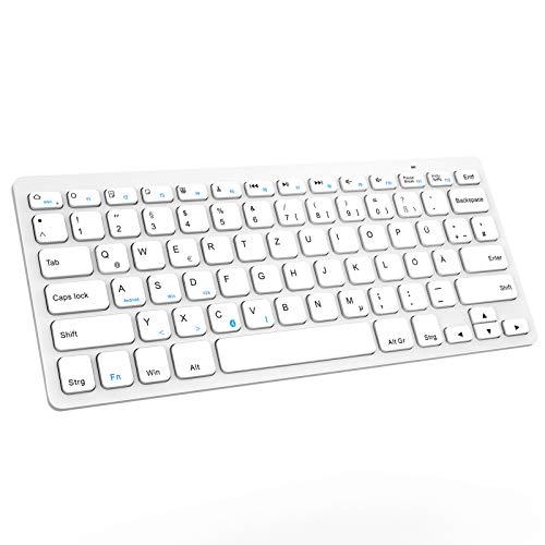 Jelly Comb Bluetooth Funktastatur, Wireless Kabellose Schnurlose Tastatur für PC, Laptop, MacOS, Android Tablets, iPad und Smartphones, QWERTZ Deutsches Layout, Weiß