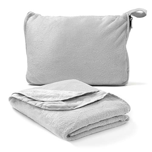 Americanflat Travel Blanket and Pillow Set - 2 in 1 Soft Plush Airplane Blanket with Hand Luggage Strap, Grey