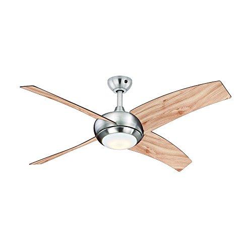AireRyder Deckenventilator Borealis mit Beleuchtung und Fernbedienung, Gehäuse Satin Nickel, Flügelfarbe Kiefer, 122 cm