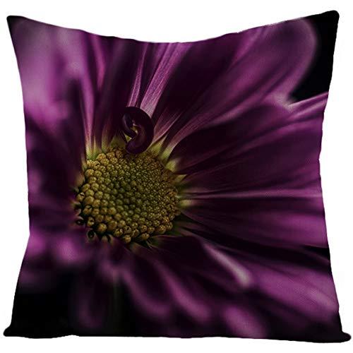 KnBoB Funda de Almohada Negro Púrpura Flor Rosa 45 x 45 cm Lino Estilo 35
