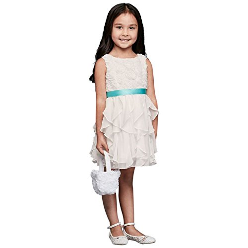 David's Bridal Rosette Flower Girl/Communion Dress with Ruffled Skirt Style OP242, Soft White, 3