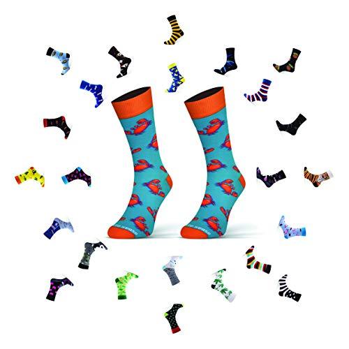 Sesto Senso Lustige Baumwolle Socken Damen Herren Bunte Ungleiche Funny Socks 39-42 Krabbe
