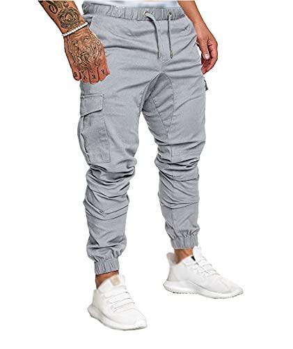 SOMTHRON Uomo Cintura Elastica in Cotone Lungo da Jogging Pantaloni Sportivi Taglie Forti Pantalone Sportivo da Lavoro con Pantaloncini Pantaloni da Jogging Pantaloni Activewear (GY-M)