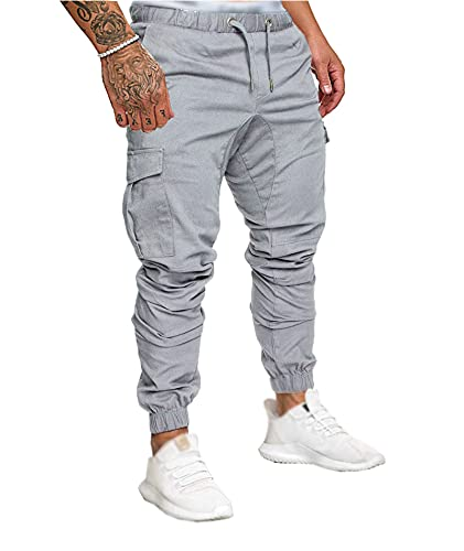 SOMTHRON Hombre Cinturón de Cintura elástico Pantalones de chándal de algodón Largo Jogging Pantalones de Carga Deportiva de Talla Grande Pantalones Cortos con Bolsillos Pantalones (GY-M)