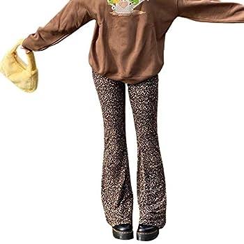 Women Y2k Fashion Pants Straight Wide Leg Trousers Flare Palazzo Pants Loose Sweatpants Joggers 90s Vintage Streetwear Flare Leopard,M