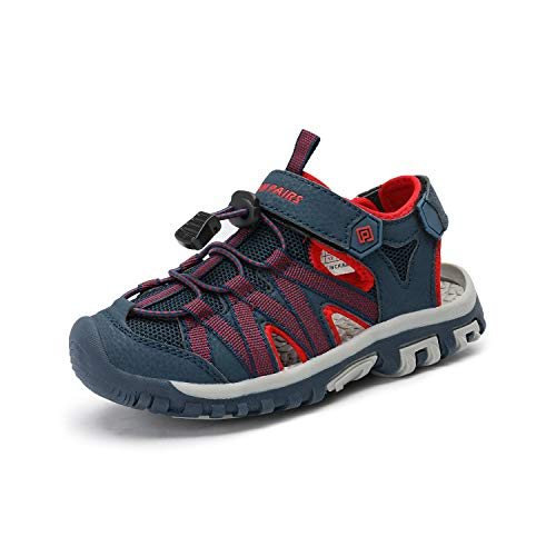 Product Image of the DREAM PAIRS Boys Girls 181108K Blue Grey Red Closed-Toe Outdoor Summer Sandals...